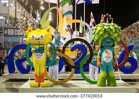 RIO DE JANEIRO, Brazil - february 08, 2016: Samba school parade. Float Rio2016 opens the parades of Carnival 2016 - stock photo