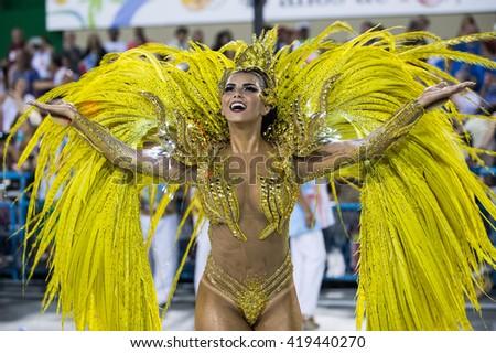 RIO DE JANEIRO, Brazil - february 07, 2016: Samba school parade Ilha do Governador during the 2016 carnival in Rio de Janeiro, the Sambodromo. - stock photo