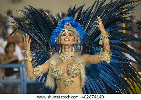 RIO DE JANEIRO, Brazil - february 05, 2016: Samba school parade Rocinha during the 2016 carnival in Rio de Janeiro, the Sambodromo. Highlight is performance