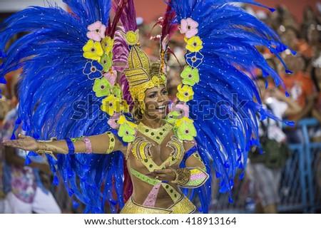 RIO DE JANEIRO, Brazil - february 06, 2016: Samba school parade Tuiuti during the 2016 carnival in Rio de Janeiro, the Sambodromo. Highlight dancing floor - stock photo