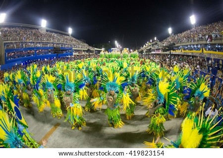 RIO DE JANEIRO, Brazil - february 08, 2016: Samba school parade Unidos de Padre Miguel during the 2016 carnival in Rio de Janeiro, the Sambodromo. - stock photo