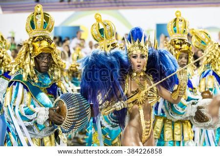 RIO DE JANEIRO, Brazil - february 08, 2016: Samba school parade Unidos de Vila Isabel during the 2016 carnival in Rio de Janeiro, the Sambodromo. Queen of percussion Sabrina Sato - stock photo