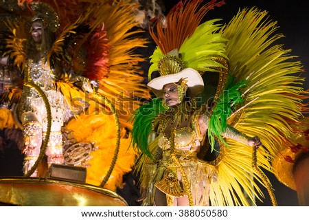 RIO DE JANEIRO, Brazil - february 08, 2016: Samba school parade Unidos de Vila Isabel during the 2016 carnival in Rio de Janeiro, the Sambodromo. Floor highlight over float - stock photo