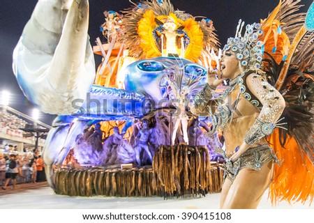 RIO DE JANEIRO, Brazil - february 08, 2016: Samba school parade Unidos de Vila Isabel during the 2016 carnival in Rio de Janeiro, the Sambodromo. Floor highlight - stock photo