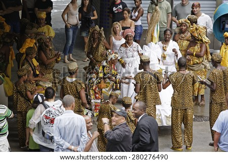 Rio de Janeiro, Brazil February 13, 2015  Street performers entertaining tourist during the Carnival festival - stock photo