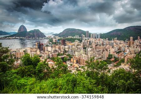 Rio De Janeiro, Brazil in the evening sun light - stock photo