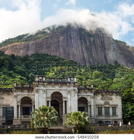 Rio de Janeiro, Brazil -  January 3, 2017: Italian architecture style mansion in Parque Lage. It is now a School of Visual Arts of Rio de Janeiro