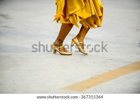 RIO DE JANEIRO, Brazil - January 24, 2016:  School of samba Viradouro during essay technician in the Sambodromo, that is prepared for the 2016 Carnival