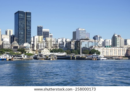 RIO DE JANEIRO, BRAZIL - JULY 31: Ferry boat station in Guanabara bay, with Candido Mendes University and Bancid building behind, on July 31, 2014 in Rio de Janeiro, Brazil.