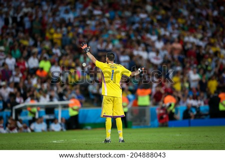RIO DE JANEIRO, BRAZIL - July 13, 2014: Goalkeeper Romero of Argentina during the 2014 World Cup Final game between Argentina and Germany at Maracana Stadium. NO USE IN BRAZIL.