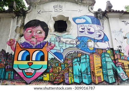 RIO DE JANEIRO, BRAZIL -25 JULY 2015- Graffiti street art murals line the streets and back alleys of Rio de Janeiro, especially in the Santa Teresa and Lapa neighborhoods.