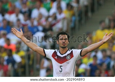 RIO DE JANEIRO, BRAZIL - JULY 04, 2014: Hummels of Germany celebrates during the World Cup Quarter-finals game between France and Germany in the Estadio Maracana. NO USE IN BRAZIL.