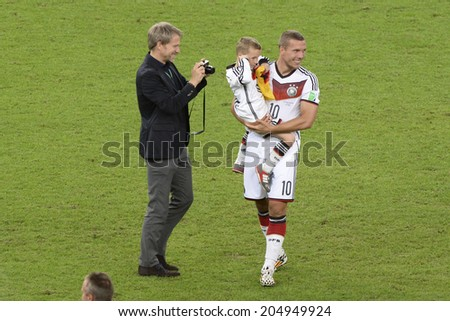 RIO DE JANEIRO, BRAZIL - July 13, 2014: Lukas PODOLSKI, celebrates after win the match during the 2014 World Cup Final game between Argentina and Germany at Maracana Stadium.  - stock photo