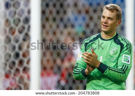 RIO DE JANEIRO, BRAZIL - July 13, 2014: Neuer of Germany celebrates winning the 2014 World Cup Final game between Argentina and Germany at Maracana Stadium. NO USE IN BRAZIL. - stock photo