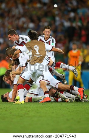 RIO DE JANEIRO, BRAZIL - July 13, 2014: Players of Germany celebrate winning the 2014 World Cup Final game between Argentina and Germany at Maracana Stadium. NO USE IN BRAZIL.