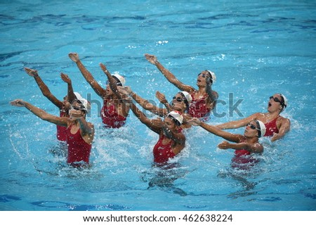 Rio de Janeiro-Brazil July 2, 2016 synchronized swimming team of Egypt in the Olympic Games 2016