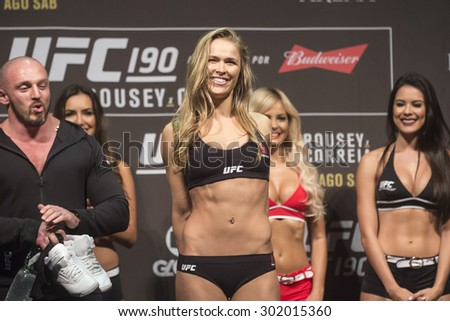 Rio de Janeiro, Brazil, 31 JULY 2015, The fighter Ronda Rousey during weighing UFC 190 - stock photo