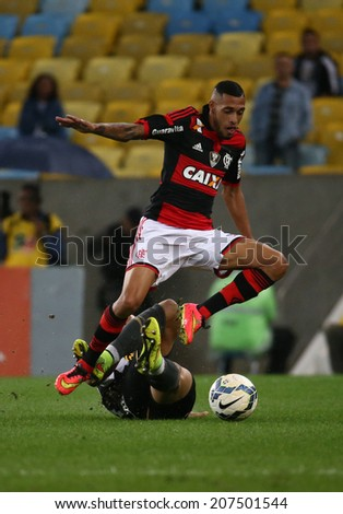 RIO DE JANEIRO, BRAZIL - July 27, 2014: the football game between Botafogo  and Flamengo at the Maracana stadium, starting the Brazilian soccer championship 2014.