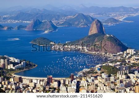 RIO DE JANEIRO, BRAZIL - July 21, 2014: view of Corcovado Mountain, and Botafogo neighborhood.  - stock photo