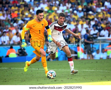 RIO DE JANEIRO, BRAZIL -July 04, 2014 World Cup game between France  and Germany at Maracana Stadium. No Use in Brazil