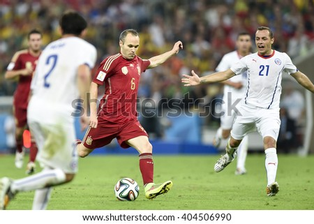 RIO DE JANEIRO, BRAZIL - June 18, 2014: Andres INIESTA of Spain during the FIFA 2014 World Cup. Spain is facing Chile in the Group B at Maracana Stadium - stock photo