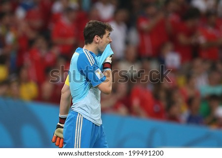 RIO DE JANEIRO, BRAZIL - JUNE 18, 2014: Casillas of Spain is seen during the 2014 World Cup Group B game between Spain and Chile at Maracana Stadium. NO USE IN BRAZIL.