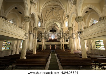 RIO DE JANEIRO, BRAZIL - JUNE 13, 2016: Interior of the Presbyterian Cathedral in neo-gothic stylel, located in downtown of the city. - stock photo