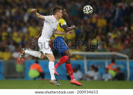 RIO DE JANEIRO, BRAZIL - JUNE 25, 2014: Koscielny of France during the World Cup Group E game between Ecuador and France in the Maracana Stadium. NO USE IN BRAZIL.