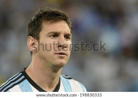 RIO DE JANEIRO, BRAZIL - June 15, 2014: Lionel MESSI during Argentina National Anthem at the 2014 World Cup Group F game between Argentina and Bosnia at Maracana Stadium.