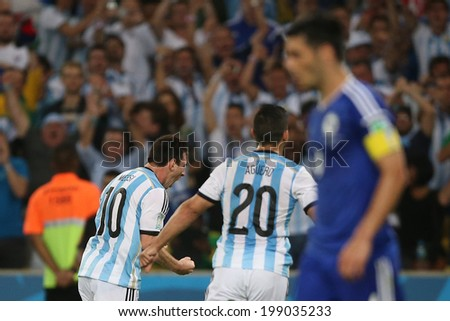 RIO DE JANEIRO, BRAZIL - June 15, 2014: Messi of Argetina celebrating his goal the World Cup Group F game between Argentina and Bosnia at Maracana Stadium. No Use in Brazil.