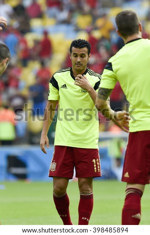 RIO DE JANEIRO, BRAZIL - June 18, 2014: Pedro RODRIGUEZ of Spain during the FIFA 2014 World Cup. Spain is facing Chile in the Group B at Maracana Stadium