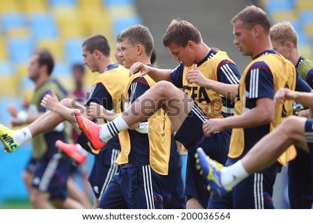 RIO DE JANEIRO, BRAZIL - JUNE 21, 2014: Players of Russia are seen during a training session at the Maracana Stadium. NO USE IN BRAZIL.