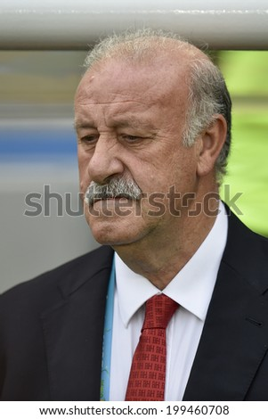 RIO DE JANEIRO, BRAZIL - June 18, 2014: Spain coach Vicent Del Bosque during the FIFA 2014 World Cup game in the Group B at Maracana Stadium.