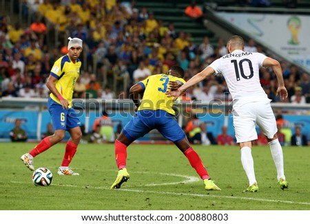 RIO DE JANEIRO, BRAZIL - June 25, 2014: 2014 World Cup Group E game between Ecuador and France at Maracana Stadium. No Use in Brazil.