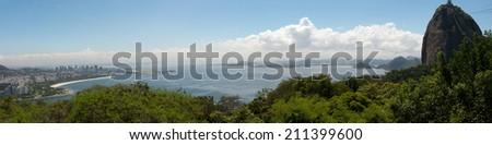 Rio de Janeiro, Brazil - March 28, 2014: Panoramic from Sugar Loaf, Baia de Guanabara, Aterro do Flamengo and Santos Dumont Airport  - stock photo