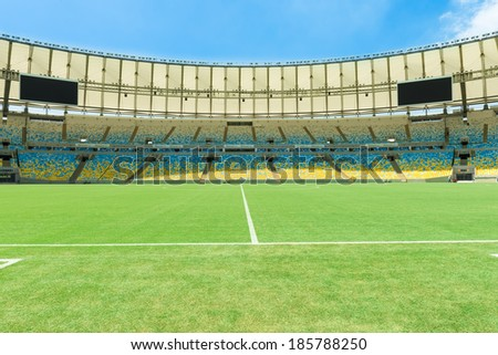 RIO DE JANEIRO, BRAZIL - MARCH 14, 2014: View of Maracana football soccer stadium from the grandstand, after two years renovation and reconstruction - stock photo