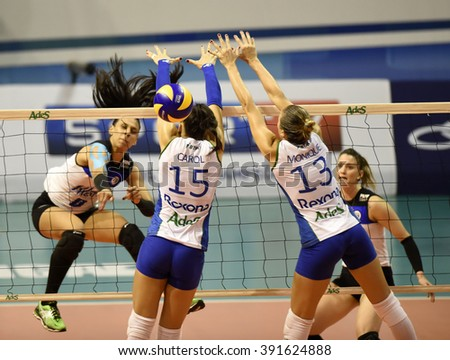 Rio de Janeiro-Brazil, March 15, 2016 volleyball game between the teams Rexona -RJ and Pinheiros, the Brazilian championship volleyball