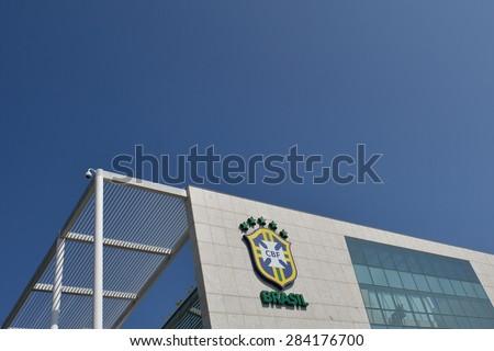 RIO DE JANEIRO, BRAZIL - May 29, 2015 - Brazilian Confederation of Football (CBF) Headquarters after the name removal from its facade of the former CBF president Jose Maria Marin - stock photo