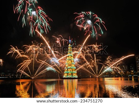 Rio de Janeiro-Brazil ,november 30, 2014 Christmas tree in Rodrigue de Freitas lagoon, in the south of the city of Rio de Janeiro