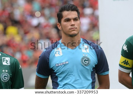 RIO DE JANEIRO, BRAZIL - November 08, 2015: Paulo Henrique Keeper of Goias during national anthem in the match between Flamengo vs Goias in the Brazilian championship at Maracana Stadium