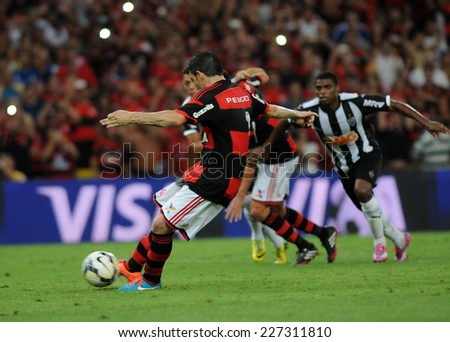 RIO DE JANEIRO, BRAZIL - October 29, 2014: Soccer match between flamengo and atletico mineiro   at Maracana during the national  Championship. - stock photo