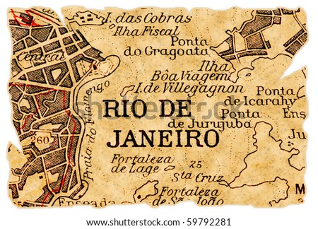 Rio de Janeiro, Brazil on an old torn map from 1949, isolated. Part of the old map series. - stock photo