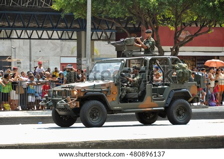 Rio de Janeiro, Brazil - September 7, 2017: Brazilian Independence Day parade in the city center. On the 7th September 1822, Brazil claimed its independence from the Portuguese.