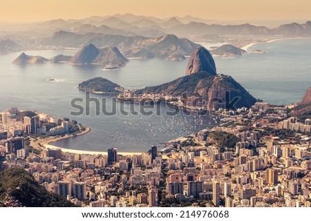 Rio de Janeiro, Brazil. Suggar Loaf and Botafogo beach viewed from Corcovado  - stock photo