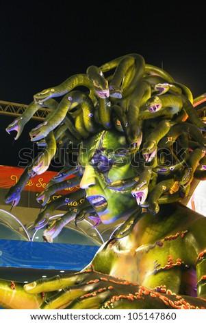RIO DE JANEIRO CARNIVAL FEBRUARY 19 Renascer de Jacarepagua samba school  parade float  in Sambadome February 19, 2012 in Rio de Janeiro, Brazil. The Rio Carnival is the biggest carnival in the world. - stock photo