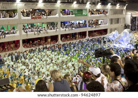 RIO DE JANEIRO - FEBRUARY 22: A group of Samba dancer dressed up for the Rio Carnival in Sambadome February 22, 2009 in Rio de Janeiro, Brazil. The Rio Carnival is the biggest carnival in the world - stock photo