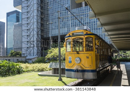 RIO DE JANEIRO, FEBRUARY, 19, 2016 - After many years in Rio de Janeiro again have launched a famous tram from Lapa to Santa Teresa district, Rio de Janeiro, Brazil - stock photo