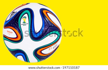 RIO DE JANEIRO - JUNE 06, 2014: Adidas Brazuca World Cup 2014 Football, The Official FIFA Matchball for the 2014 World Cup