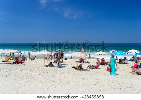 RIO DE JANEIRO - MARCH 3, 2014: Copacabana Beach is one of the most famous and crowded beaches in Rio de Janeiro, Brazil.