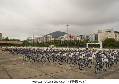 RIO DE JANEIRO  MARCH 31: patio with 600 bicycles to be distributed gratuitously to communities' children during Kids Bike Tour event.  Event Kids Bike Tour March 31, 2012 in Rio de Janeiro, Brazil